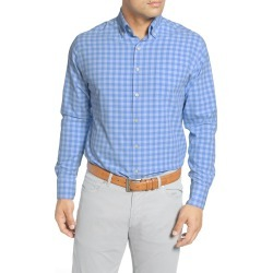 Men's Peter Millar Jordan Natural Touch Regular Fit Gingham Button-Down Performance Shirt, Size Small - Blue found on Bargain Bro Philippines from LinkShare USA for $52.13