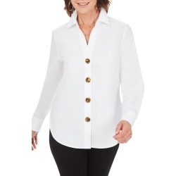 Women's Foxcroft Aris Solid Button-Up Blouse, Size 10 - White found on Bargain Bro from Nordstrom for USD $47.35