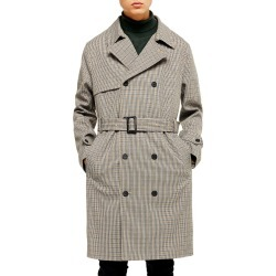 Men's Topman Houndstooth Double Breasted Trench Coat