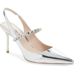 Women's Miu Miu Crystal Strap Slingback Pump, Size 11US / 41EU - Metallic found on Bargain Bro Philippines from Nordstrom for $795.00