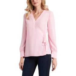 Women's Vince Camuto Long Sleeve Georgette Wrap Blouse, Size X-Small - Pink found on Bargain Bro from Nordstrom for USD $67.64