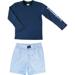 Toddler Boy's Ruggedbutts Long Sleeve Rashguard & Gingham Board Shorts Set, Size 3T - Blue found on Bargain Bro India from Nordstrom for $42.00