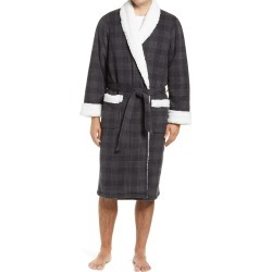 Men's Nordstrom Men's Shop Plaid Fleece Robe With Faux Shearling Lining, Size X-Large/XX-Large - Grey found on Bargain Bro India from Nordstrom for $89.50