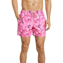 Men's Bugatchi Fish Print Nylon Swim Trunks, Size X-Large - Pink found on MODAPINS from Nordstrom for USD $129.00