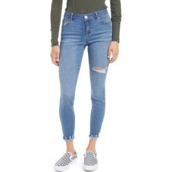 Women's 1822 Denim High Waist Chew Hem Ankle Skinny Organic Cotton Blend Jeans, Size 30 - Blue found on MODAPINS from Nordstrom for USD $36.75