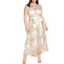 Plus Size Women's Tahari Embroidered Mesh Gown