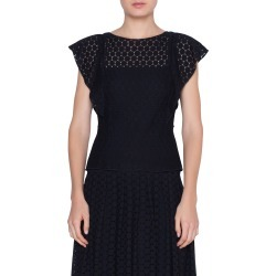Women's Akris Punto Flutter Sleeve Lace Blouse, Size 4 - Black found on MODAPINS from Nordstrom for USD $495.00
