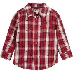 Toddler Boy's Hatley Tiny Moose Plaid Woven Shirt, Size 2 - Red found on Bargain Bro India from Nordstrom for $42.00