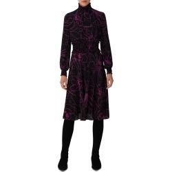 Women's Akris Punto Sashiko Floral Long Sleeve Silk Dress, Size 8 - Black found on MODAPINS from Nordstrom for USD $1490.00