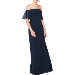 Women's #levkoff Off The Shoulder Fluted Sleeve Chiffon Gown, Size 0 - Blue