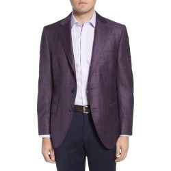 Men's Big & Tall Peter Millar Classic Fit Plaid Wool Sport Coat, Size 52R - Burgundy