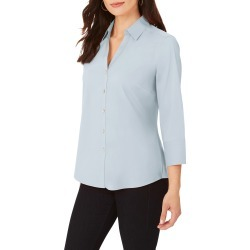 Women's Foxcroft Mary Button-Up Blouse, Size 12 - Blue found on Bargain Bro from Nordstrom for USD $67.64