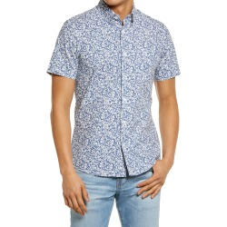 Men's Big & Tall Nordstrom Tech-Smart Trim Fit Floral Short Sleeve Button-Up Shirt, Size XXX-Large - Blue found on Bargain Bro India from Nordstrom for $59.50