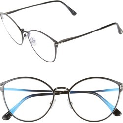 Women's Tom Ford 55mm Blue Light Blocking Round Optical Glasses - Shiny Black/ Clear found on Bargain Bro Philippines from Nordstrom for $470.00