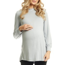 Women's Everly Grey Sherry Maternity/nursing Mock Neck Top, Size Small - Metallic found on Bargain Bro Philippines from LinkShare USA for $49.00