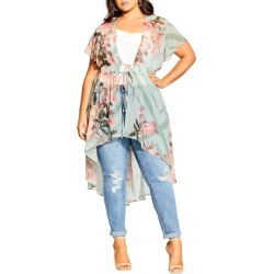 Plus Size Women's City Chic Sierra Scarf Floral Short Sleeve Jacket, Size Small - Green found on Bargain Bro India from Nordstrom for $109.00