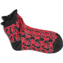 Women's Undercover Rose Print Socks, Size One Size - Black found on MODAPINS from Nordstrom for USD $50.00