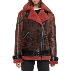 Women's Allsaints Hawley Genuine Shearling Leather Jacket, Size Large - Burgundy found on Bargain Bro India from Nordstrom for $1385.00