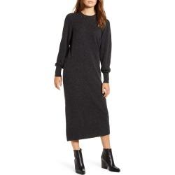 Women's Lucky Brand Pointelle Yoke Long Sleeve Cotton Midi Sweater Dress, Size Medium - Grey