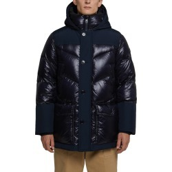 Men's Woolrich Logo Arctic Down Hooded Puffer Coat, Size X-Small - Blue