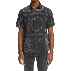 Men's Ksubi Men's Super Nature Resort Short Sleeve Button-Up Shirt, Size XX-Large - Black found on MODAPINS from Nordstrom for USD $96.00