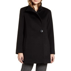 Women's Fleurette Stand Collar Wool Car Coat, Size 10 - Black