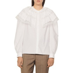 Women's Sandro Ernesta Lace Yoke Cotton Blouse, Size 2 - White found on Bargain Bro Philippines from Nordstrom for $340.00