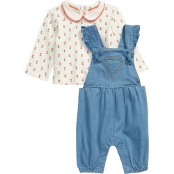 Infant Girl's Mini Boden Top & Chambray Overalls Set