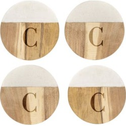 Cathy's Concepts Monogram Set Of 4 Marble & Acacia Wood Coasters, Size One Size - Brown