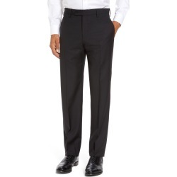 Men's Zanella Parker Flat Front Classic Fit Sharkskin Wool Dress Pants, Size 32 x - Black found on MODAPINS from Nordstrom for USD $345.00