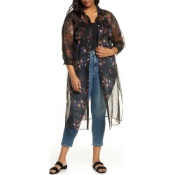 Plus Size Women's Vince Camuto Country Bouquet Belted Duster, Size 2X - Black found on MODAPINS from LinkShare USA for USD $134.00