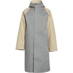 Men's Mackintosh Bonded Cotton Hooded Jacket, Size 48 - Grey