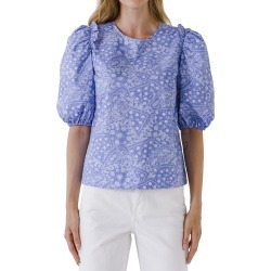 Women's English Factory Paisley Puff Sleeve Top, Size Large - Blue found on Bargain Bro India from Nordstrom for $60.00