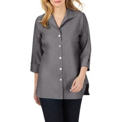 Women's Foxcroft Pandora Non-Iron Cotton Shirt, Size 4 - Grey found on Bargain Bro from Nordstrom for USD $54.11