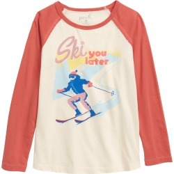 Toddler Girl's Peek Aren'T You Curious Ski You Later Raglan Tee, Size 2T - White found on Bargain Bro Philippines from Nordstrom for $17.98