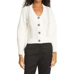 Women's Self-Portrait Ivory Cable Knit Sweater, Size Medium - Ivory found on Bargain Bro Philippines from Nordstrom for $475.00
