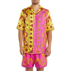 Men's Versace Short Sleeve Silk Button-Up Shirt, Size 39 EU - Yellow found on MODAPINS from Nordstrom for USD $995.00