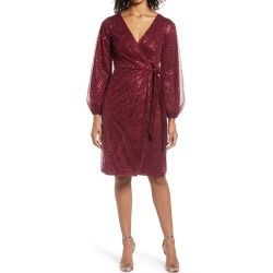 Women's Chi Chi London Beaded Long Sleeve Faux Wrap Dress, Size 6 - Red found on MODAPINS from Nordstrom for USD $130.00