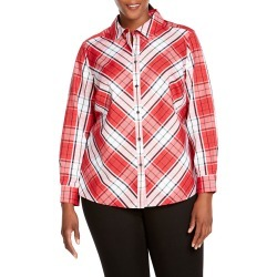 Plus Size Women's Foxcroft Tina Campbell Tartan Cotton Blend Blouse, Size 20W - Red