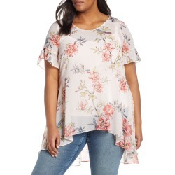 Plus Size Women's Estelle Songbird Floral High/low Blouse, Size 1X - Pink