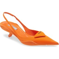 Women's Prada Triangle Logo Pointed Toe Slingback Pump, Size 5US - Orange found on MODAPINS from Nordstrom for USD $950.00