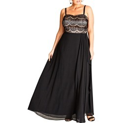 Plus Size Women's City Chic Eyelash Ebony Lace & Chiffon Gown