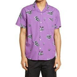 Men's Obey Butterfly Slim Fit Short Sleeve Button-Up Shirt, Size X-Large - Purple found on MODAPINS from Nordstrom for USD $42.60