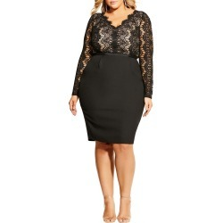Plus Size Women's City Chic Hourglass Beauty Long Sleeve Cocktail Dress, Size Large - Black found on MODAPINS from LinkShare USA for USD $76.05