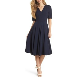 Women's Gal Meets Glam Collection Edith City Crepe Fit & Flare Midi Dress, Size 12 - Blue (Nordstrom Exclusive) found on Bargain Bro India from Nordstrom for $178.00