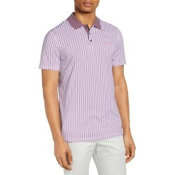 Men's Ted Baker London Slim Fit Geo Print Short Sleeve Polo, Size 7 - Purple found on Bargain Bro from Nordstrom for USD $72.20