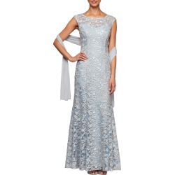 Women's Alex Evenings Floral Embroidered Evening Gown With Wrap, Size 8 - Blue found on MODAPINS from Nordstrom for USD $155.40