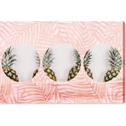 Oliver Gal Pineapples & Leaves Canvas Wall Art, Size 16x24 - Pink found on Bargain Bro India from Nordstrom for $173.00