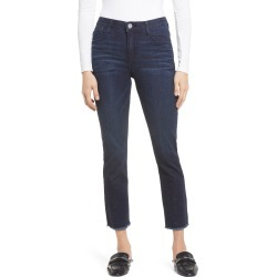 Women's Wit & Wisdom Ab-Solution Rhinestone High Waist Frayed Slim Straight Leg Jeans, Size 4 - Blue (Nordstrom Exclusive) found on Bargain Bro from Nordstrom for USD $26.75