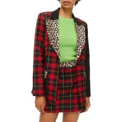 Women's Topshop Leopard Trim Tartan Blazer